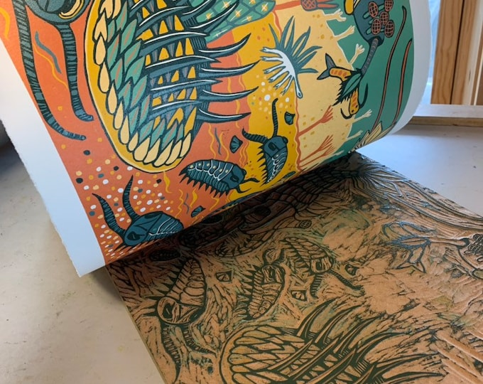 6 month Payment Plan, Cambrian Reef woodcut by Jenny Pope