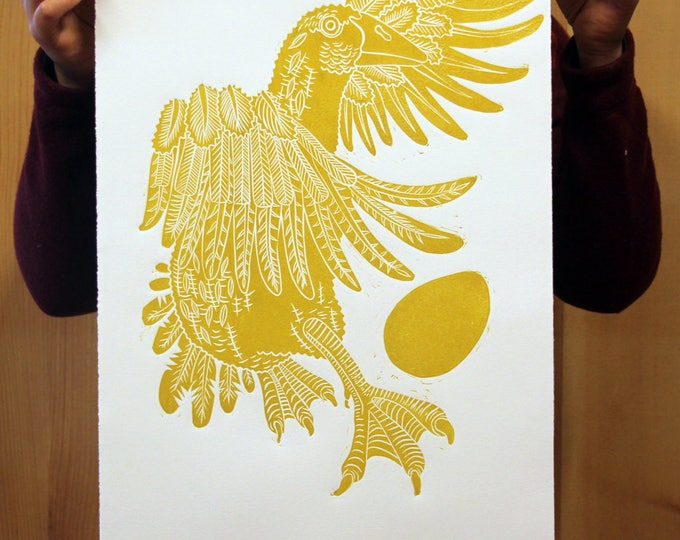 Golden Goose linocut, gold ink on white paper
