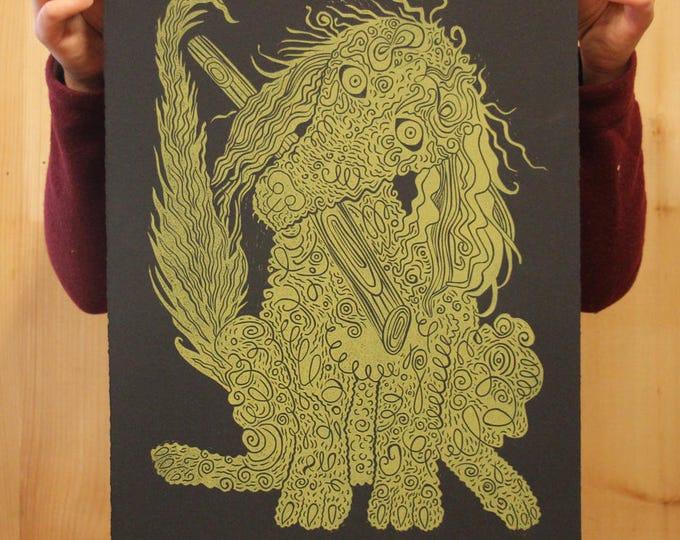 """""""Gold Poodle"""" original linocut on black paper"""