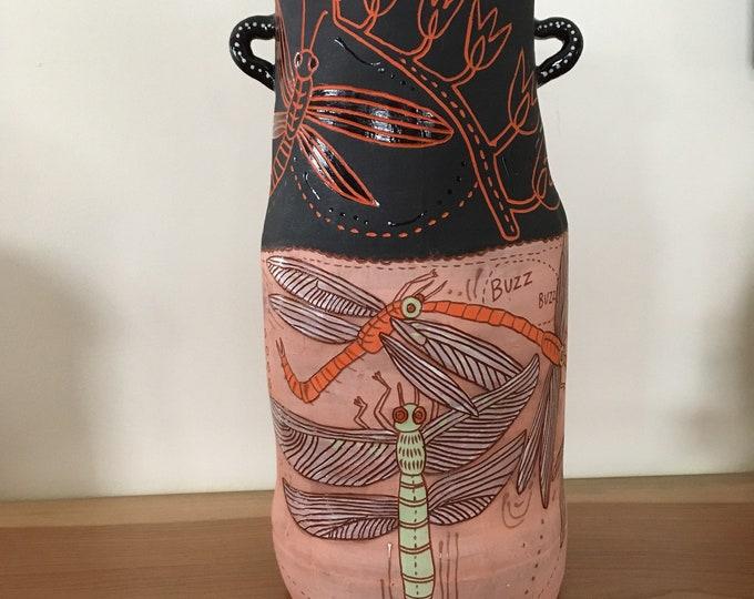 Dragonfly tall vase, ceramic vessel