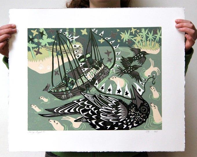 """""""Starlings Shipped"""" Original woodcut"""