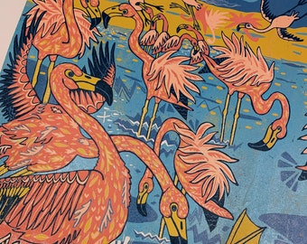 "6 month payment plan for ""Flamingos Drink Boiling Water"" original woodcut by Jenny Pope"