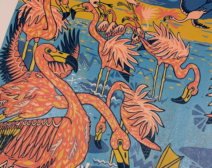 """6 month payment plan for """"Flamingos Drink Boiling Water"""" original woodcut by Jenny Pope"""