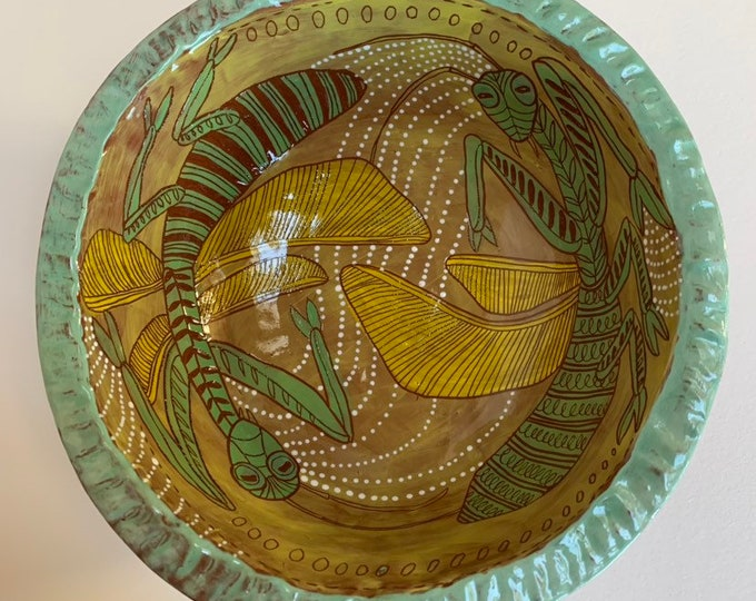 Praying Mantis ceramic bowl- handpainted, sgraffito carved, one of a kind