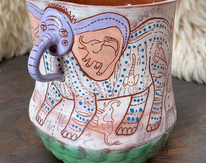 Elephant ceramic vase