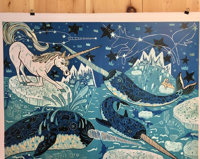 Unicorn and Narwhal art, woodcut print, block print, original art by Jenny Pope, modern wall art, contemporary