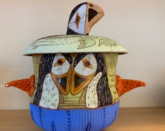 Puffin ceramic jar, cookie jar, treat jar, handbuilt pottery