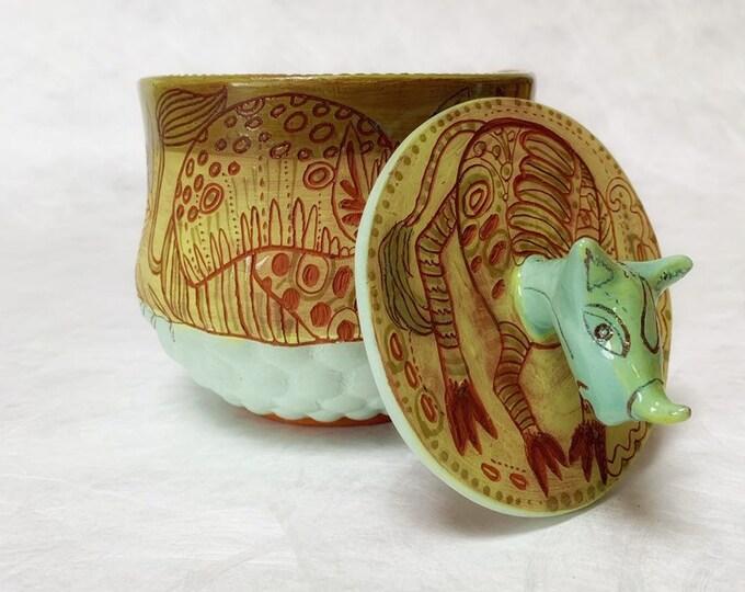 Rhino Ceramic Jar, cookie jar, treat jar, handbuilt pottery