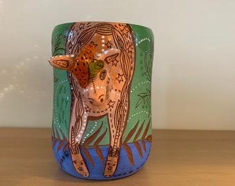 Unicorn head mug green and blue