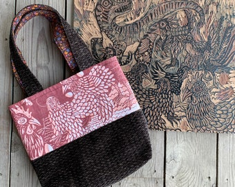 Hand printed fabric bag