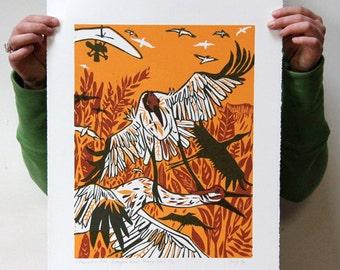 """""""A Plane and a Crane"""" Original woodcut"""