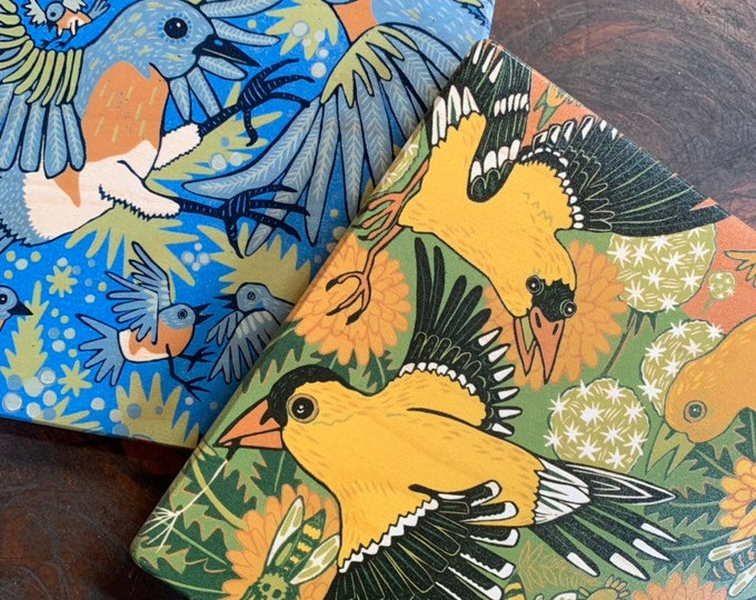 "Goldfinch and bluebird set of affordable art print on wood, 6"" x 6"" square ready to hang"