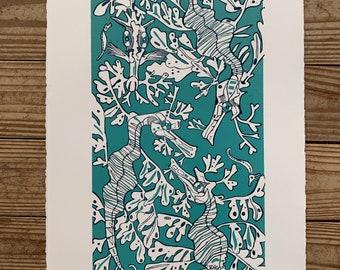 Leafy sea dragon 2 color blockprint