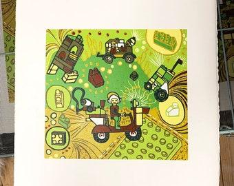 Lego, kids room, woodcut print, block print, original art by Jenny Pope, modern wall art, contemporary