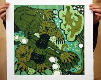 """Platypus Bills"" original woodcut"