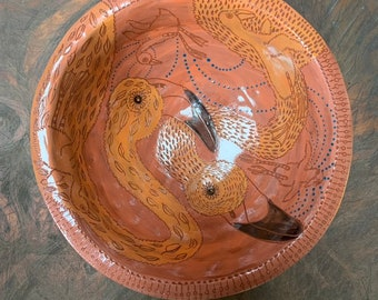Flamingo ceramic bowl, handpainted sgraffito carved one of a kind, Fruit bowl