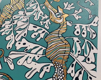 Leafy sea dragon handpainted with gold