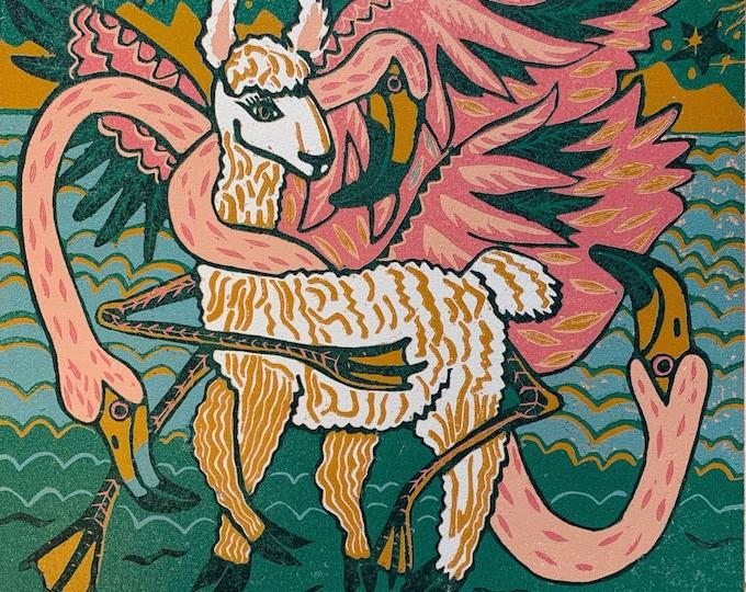 """Flamingo Embrace"" original woodcut by Jenny Pope"