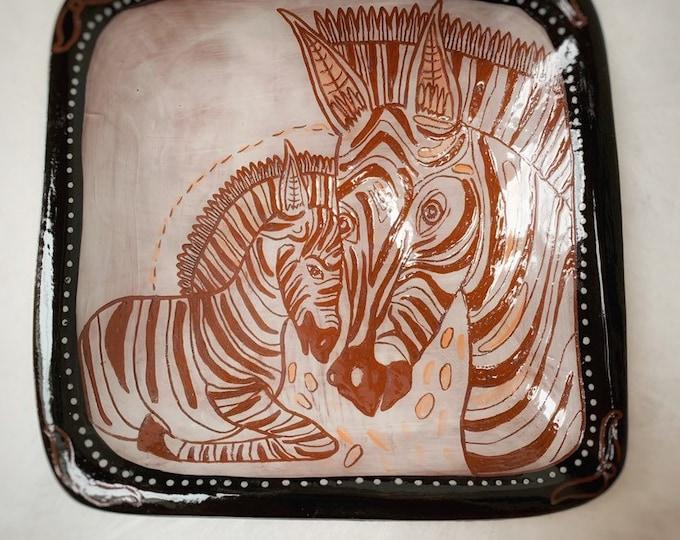 Zebra handpainted ceramic bowl, sgraffito carved