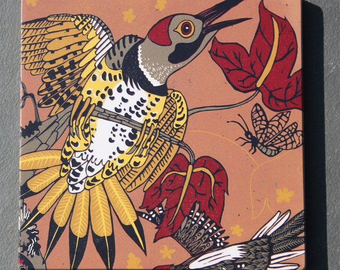 Woodpecker, flicker, print on wood, ready to hang, nursery decor, kitchen decor, bathroom art