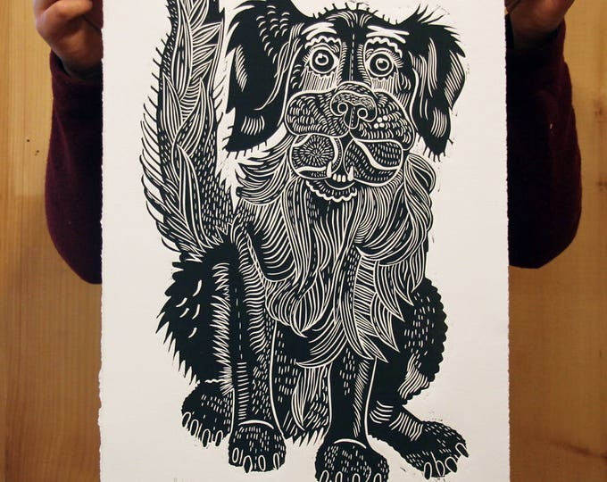 """Black Retriever"" original linocut"