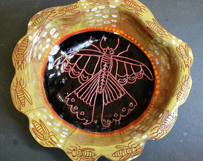 Honeybees and butterflies in a  shell handpainted terra cotta ceramic bowl