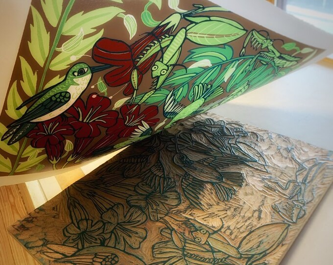 Payment plan,Praying mantis, hummingbird woodcut print, block print, printmaking, original art by Jenny Pope, modern wall art, contemporary