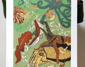 """""""Cuttlefish Cousins"""" original woodcut"""