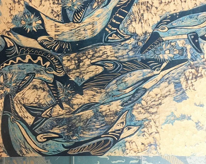 Dolphin, pufferfish, woodcarving, woodblock
