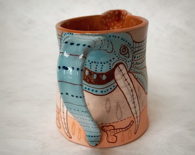 Elephant pitcher, ceramic creamer, handpainted pottery