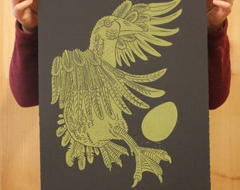 """Golden Goose"" original linocut"