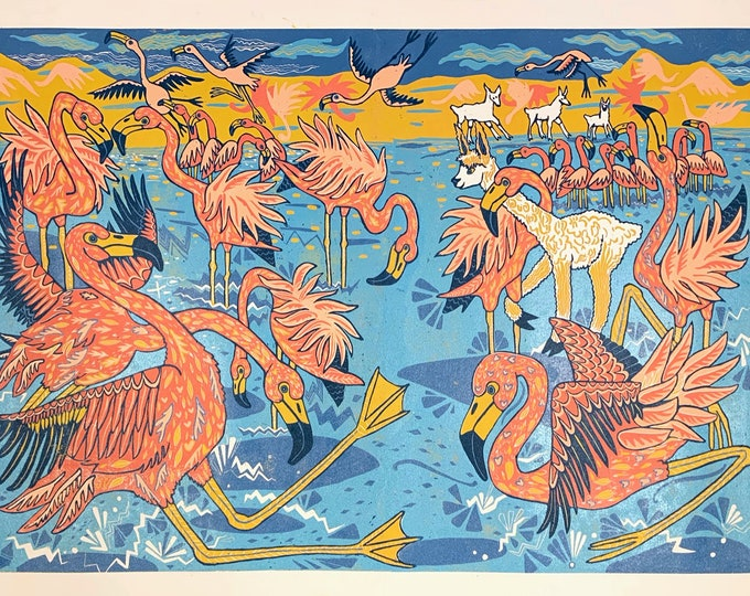 "Featured listing image: ""Flamingos Drink Boiling Water"" original woodcut by Jenny Pope"