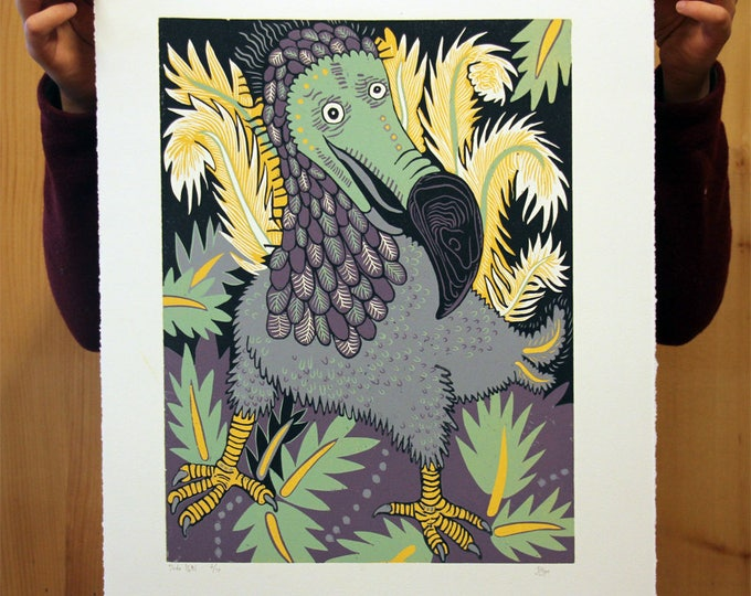 Featured listing image: Dodo, woodcut print, block print, printmaking, original art by Jenny Pope, modern wall art, contemporary animal art