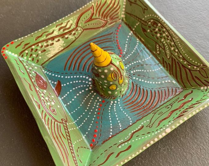 Narwhal handpainted terra cotta ceramic jewelry dish