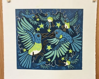 """Migration Blues"" original woodcut by Jenny Pope"
