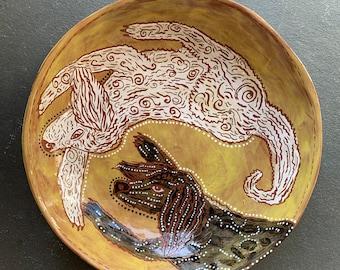 Poodle handpainted terra cotta ceramic bowl
