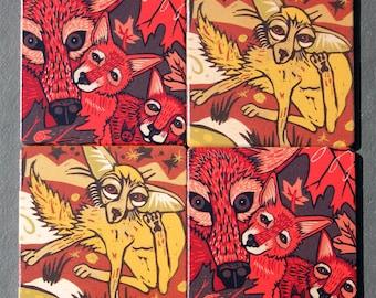 Coaster - wood set, Wolf, fox, wood coasters, design by Jenny Pope
