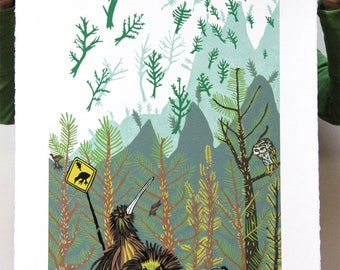 """Pinetree Invasion"" Original woodcut"