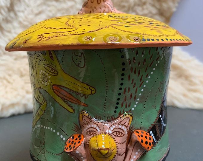 Wolf like creature pot, Ceramic Jar, cookie jar, treat jar