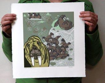 """""""Pinniped Predicament"""" Original woodcut"""