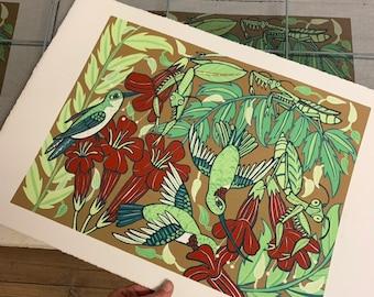 """Lurkers"" praying mantis and hummingbird, original art by Jenny Pope,"