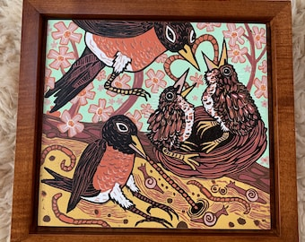 """Early Bird"" woodcut framed in solid tiger maple wood"