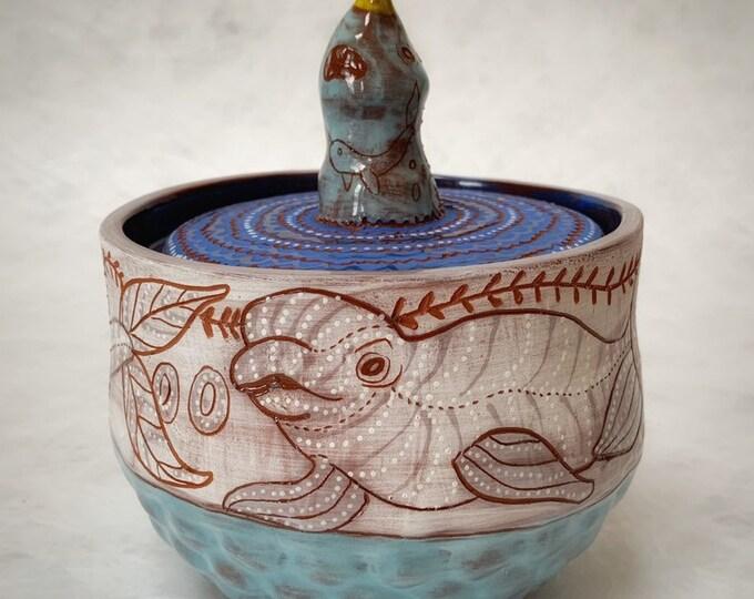 Narwhal and Beluga Ceramic Jar, cookie jar, treat jar, handbuilt pottery