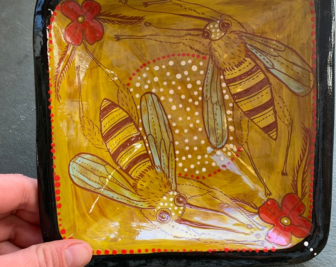 Bee handpainted terra cotta ceramic bowl