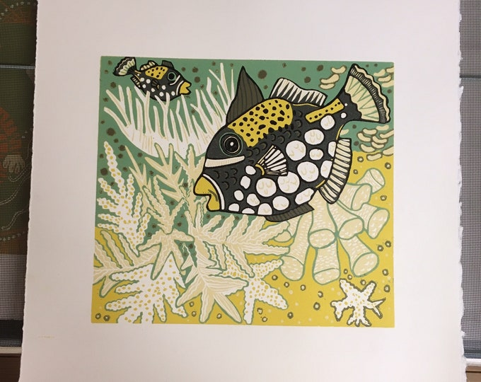 White Hot Coral, Original woodcut by Jenny Pope