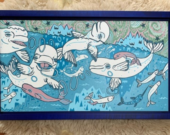 Beluga whale woodcut Framed in Curly Maple