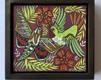 Hummingbird and Sphinx moth woodcut framed in solid tiger maple wood