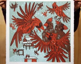 """""""Resident Cardinals"""" original woodcut"""
