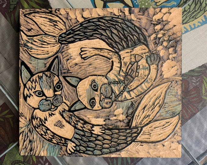 Mermaid cat carving, carved, woodblock