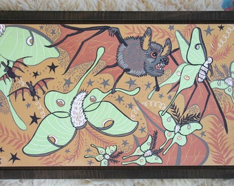 Luna Moth and Bat original woodcut, block print, printmaking, Framed in Curly Maple